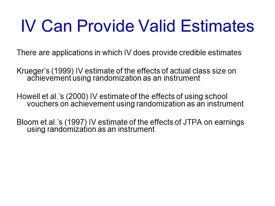IV Can Provide Valid Estimates