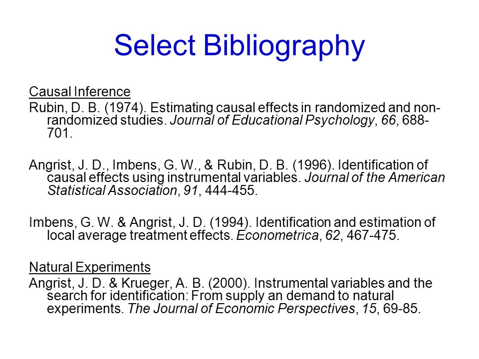 Select Bibliography Causal Inference