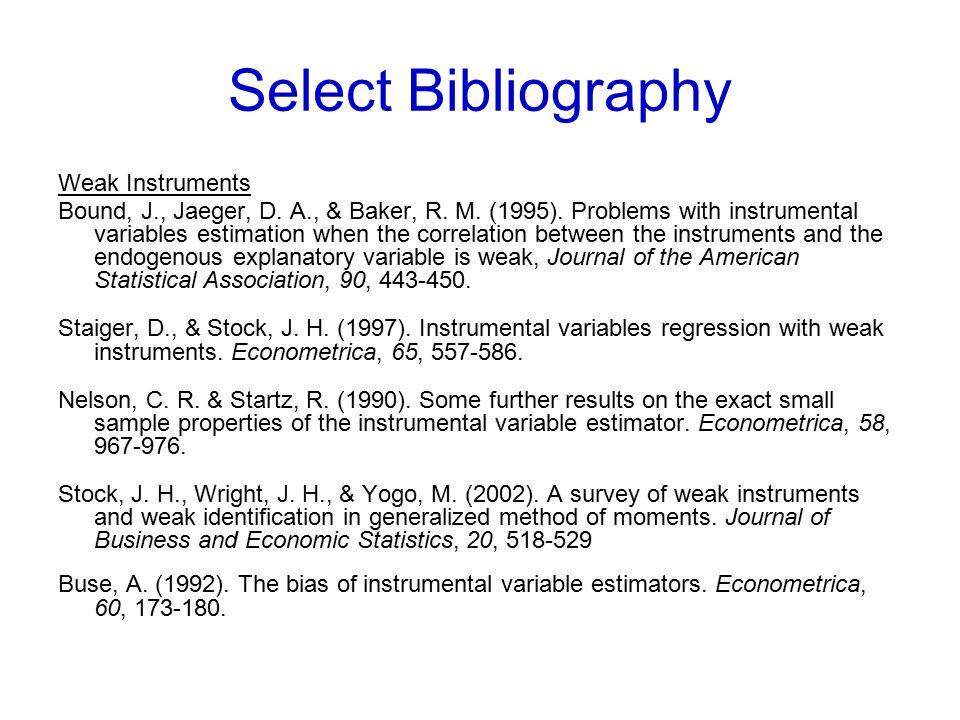 Select Bibliography Weak Instruments