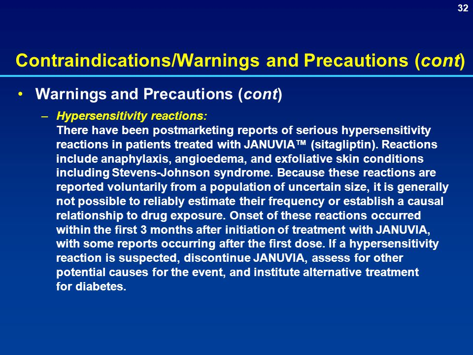 Contraindications/Warnings and Precautions (cont)