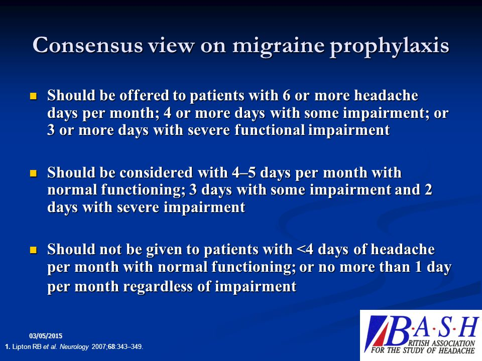 Consensus view on migraine prophylaxis