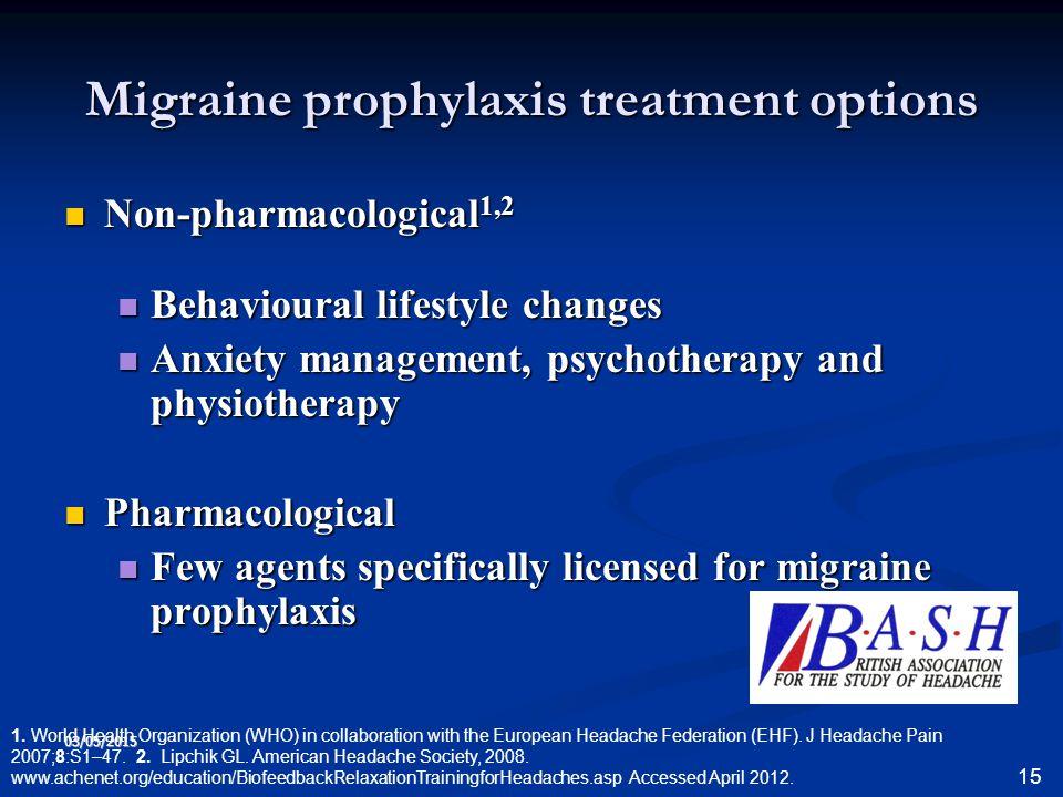 Migraine prophylaxis treatment options