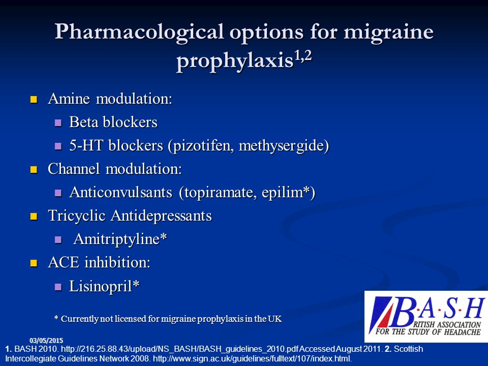 Pharmacological options for migraine prophylaxis1,2