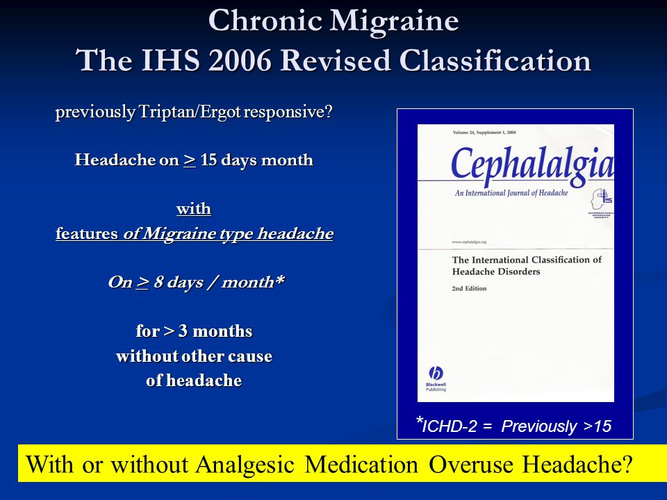 Chronic Migraine The IHS 2006 Revised Classification