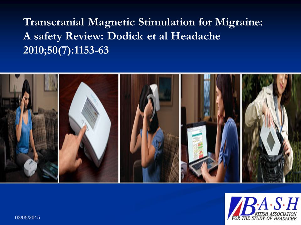 Transcranial Magnetic Stimulation for Migraine: A safety Review: Dodick et al Headache 2010;50(7):1153-63