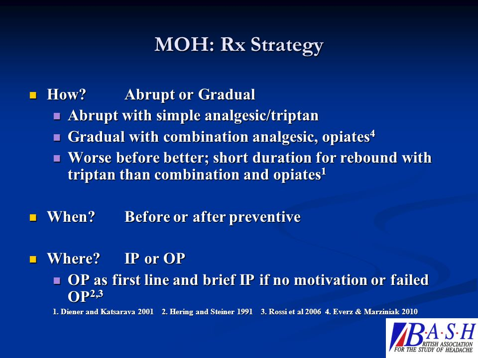 MOH: Rx Strategy How Abrupt or Gradual