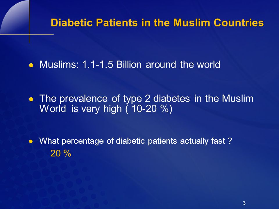 Diabetic Patients in the Muslim Countries
