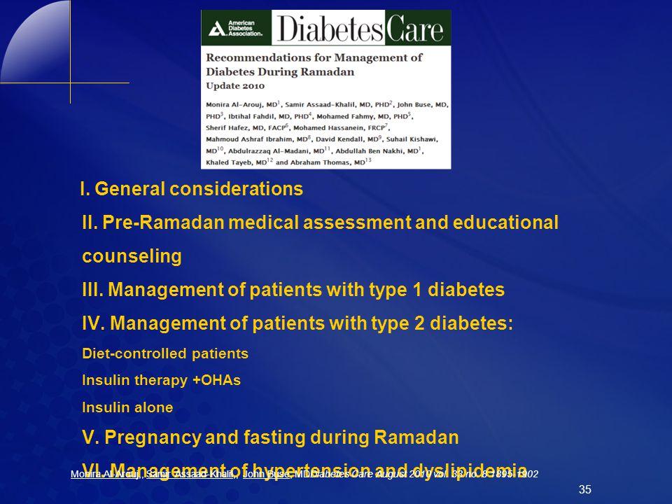 I. General considerations II