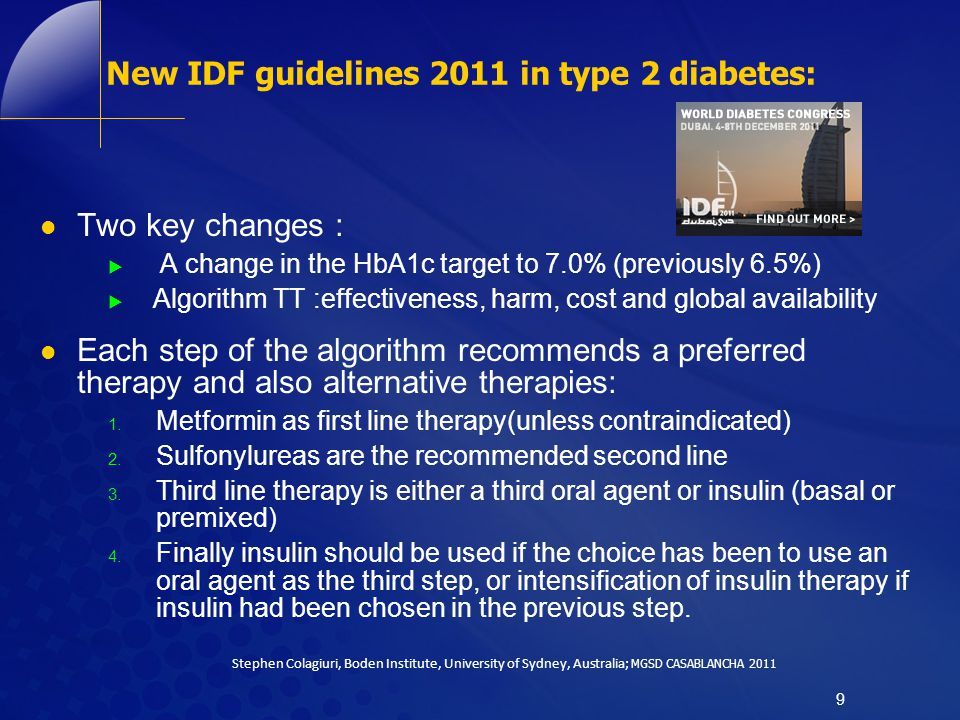 New IDF guidelines 2011 in type 2 diabetes: