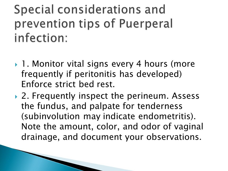Special considerations and prevention tips of Puerperal infection: