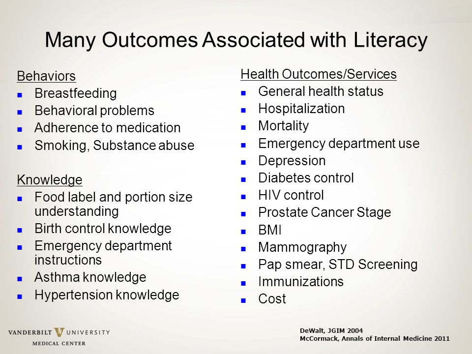 Many Outcomes Associated with Literacy