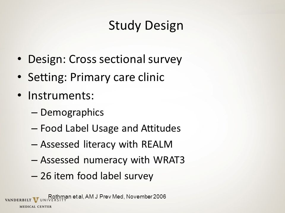 Study Design Design: Cross sectional survey