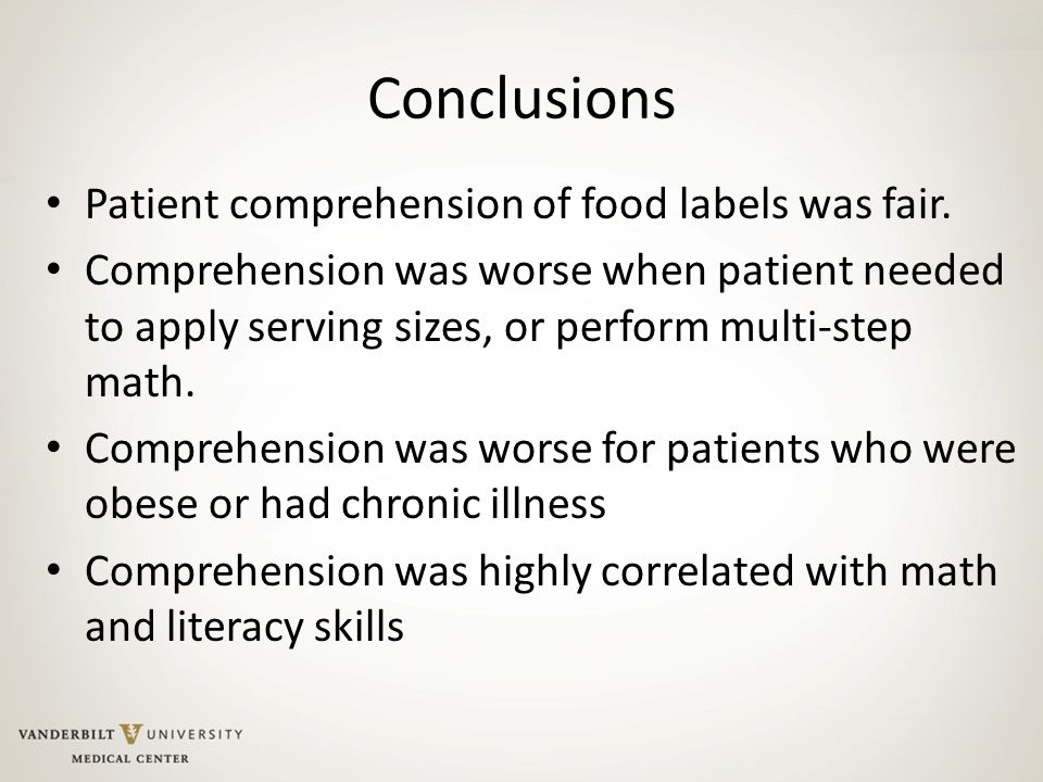 Conclusions Patient comprehension of food labels was fair.