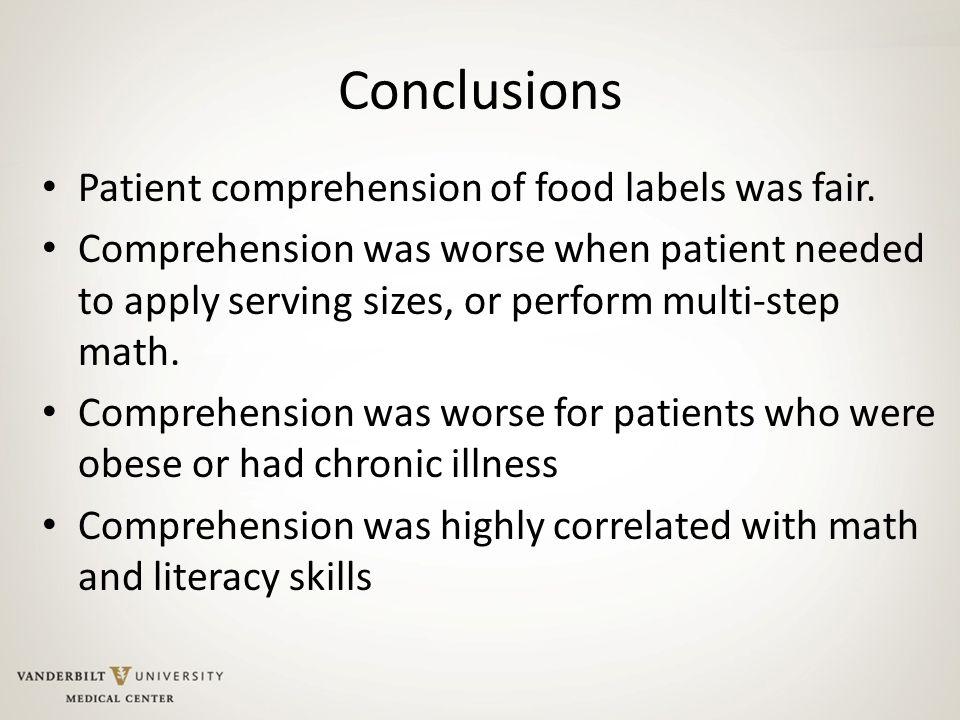 Conclusions Patient comprehension of food labels was fair.