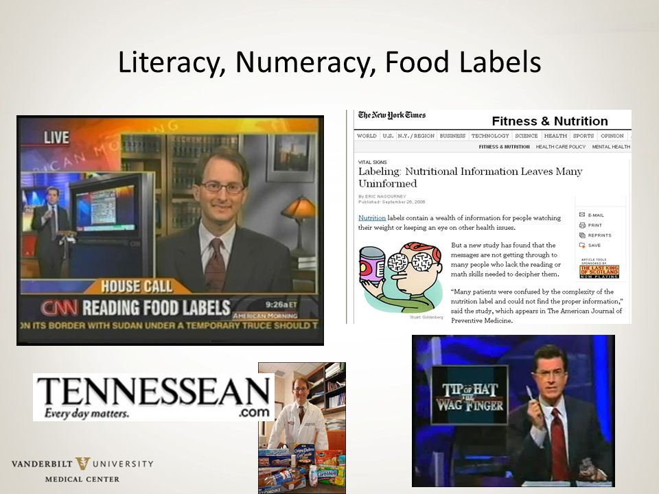 Literacy, Numeracy, Food Labels