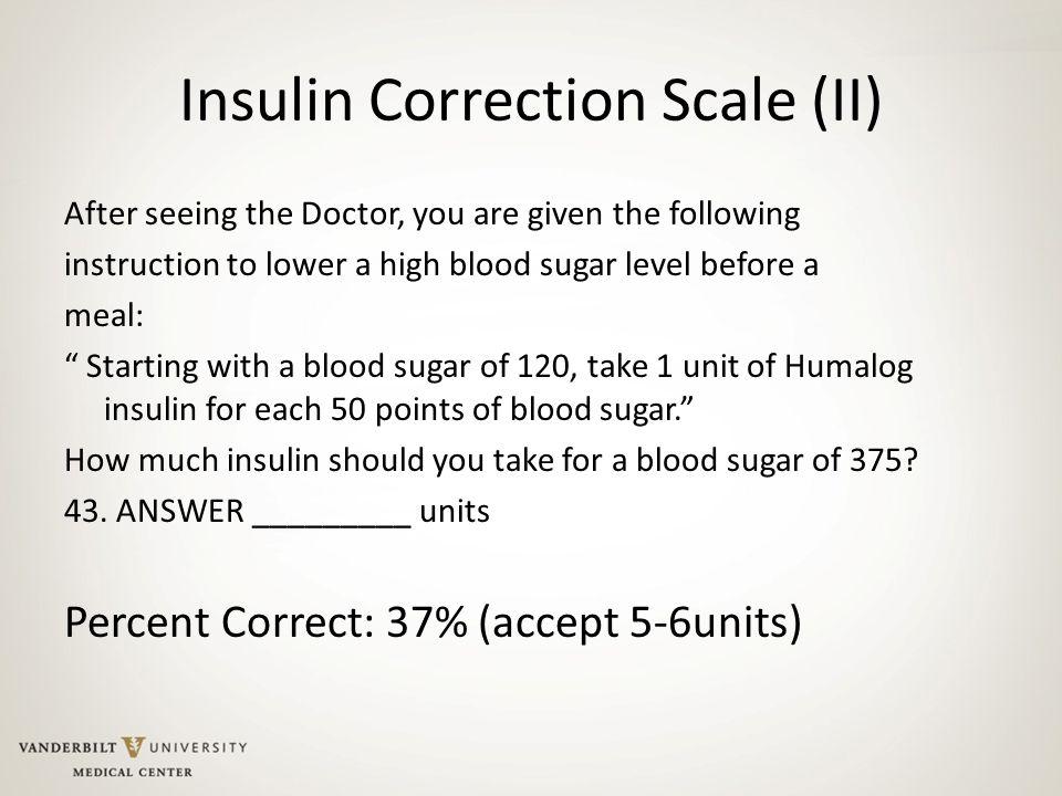 Insulin Correction Scale (II)