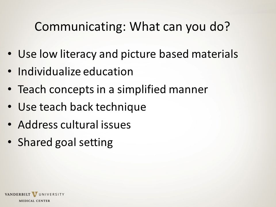 Communicating: What can you do