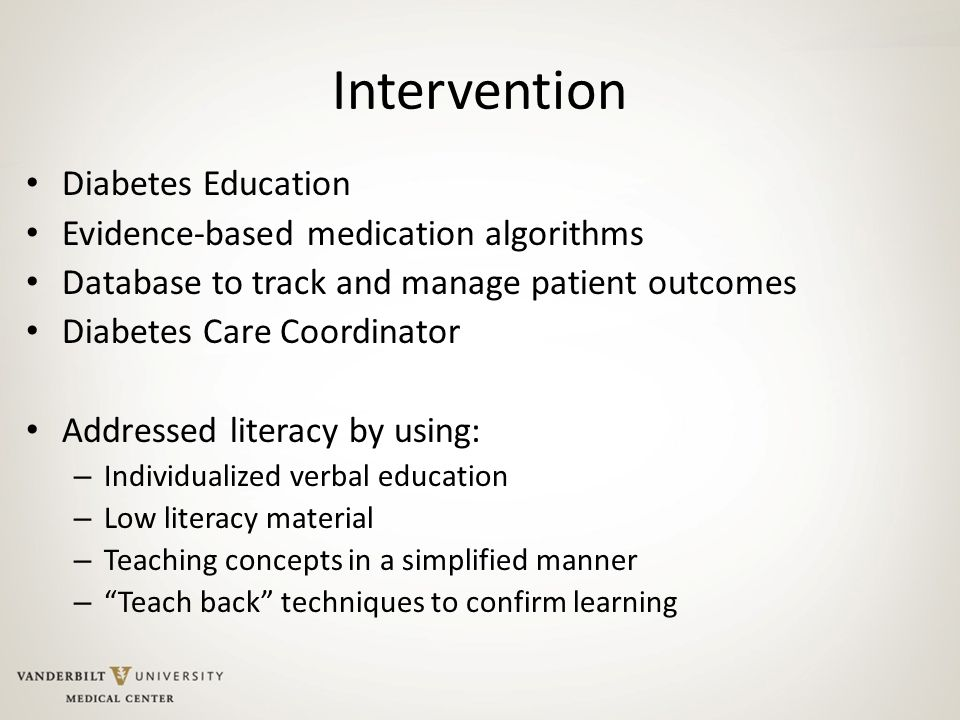 Intervention Diabetes Education Evidence-based medication algorithms