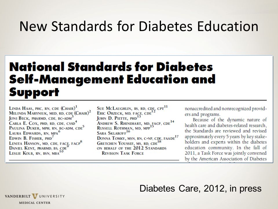 New Standards for Diabetes Education