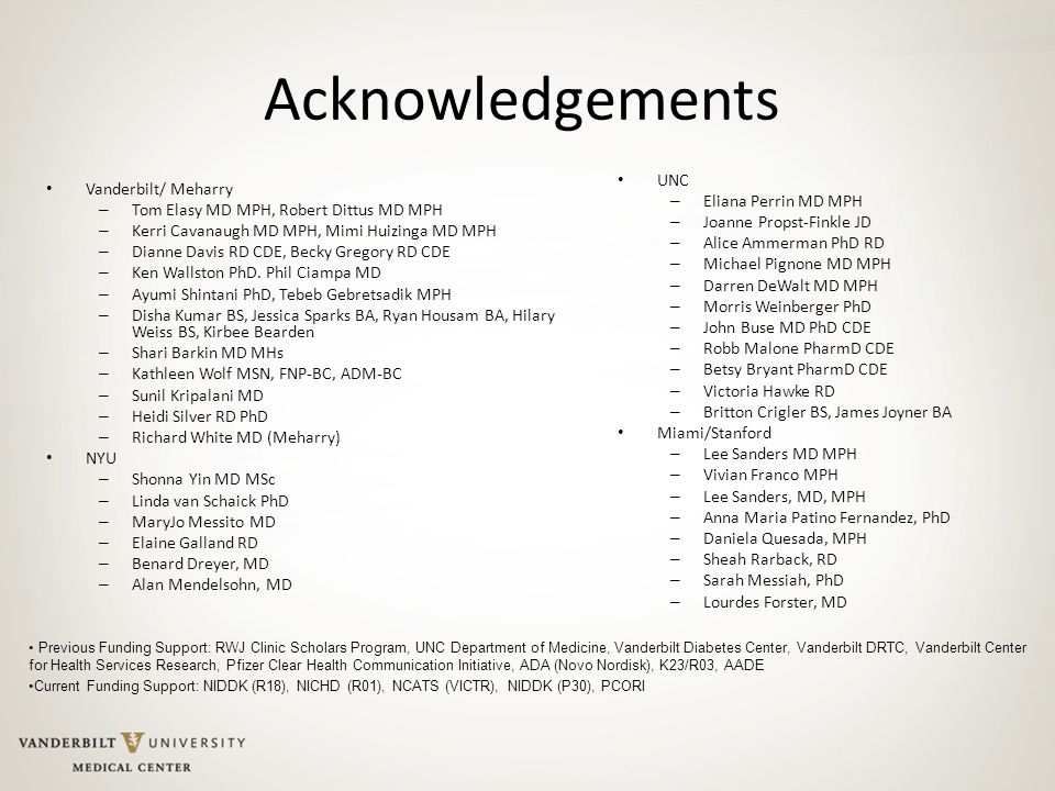 Acknowledgements UNC Vanderbilt/ Meharry Eliana Perrin MD MPH