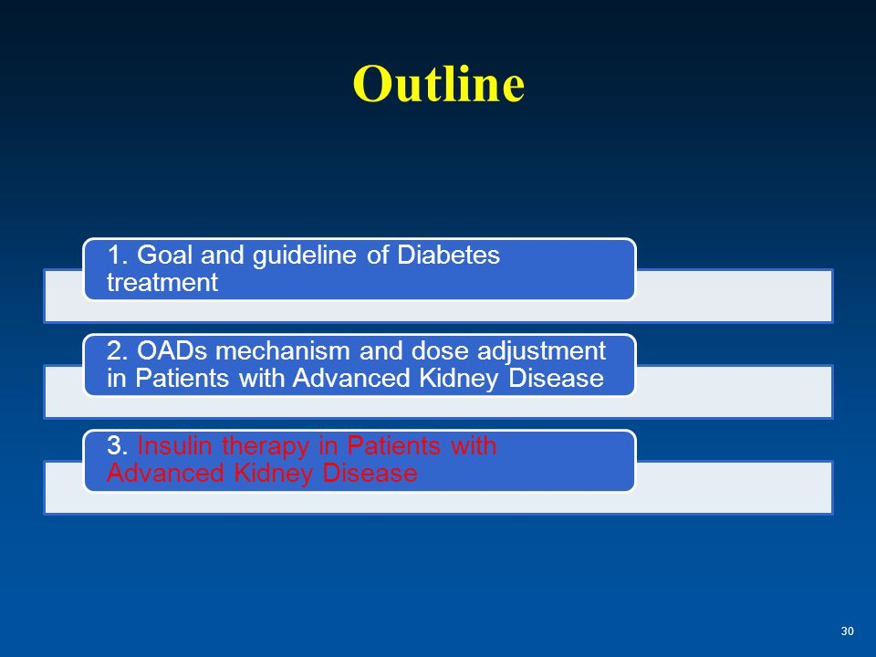 Outline 1. Goal and guideline of Diabetes treatment