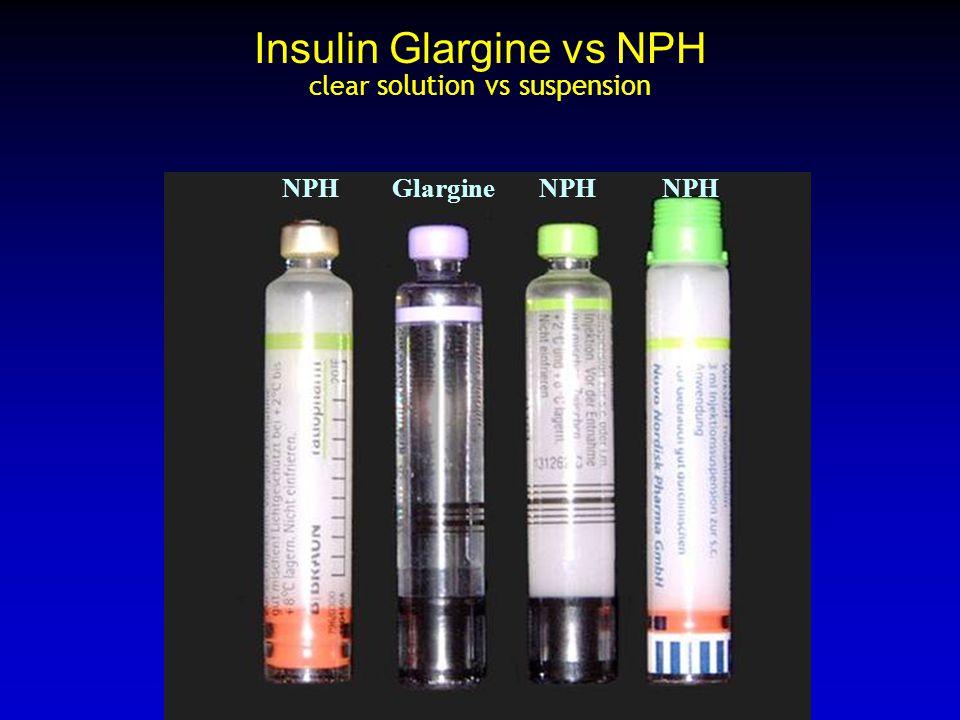 Insulin Glargine vs NPH clear solution vs suspension