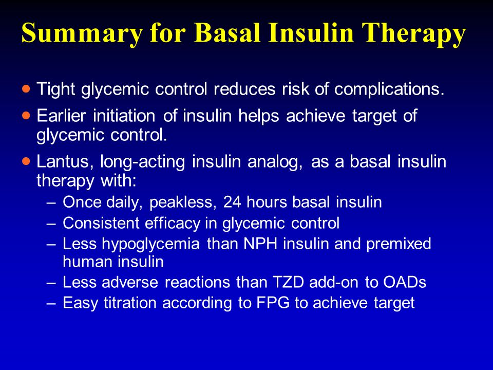 Summary for Basal Insulin Therapy