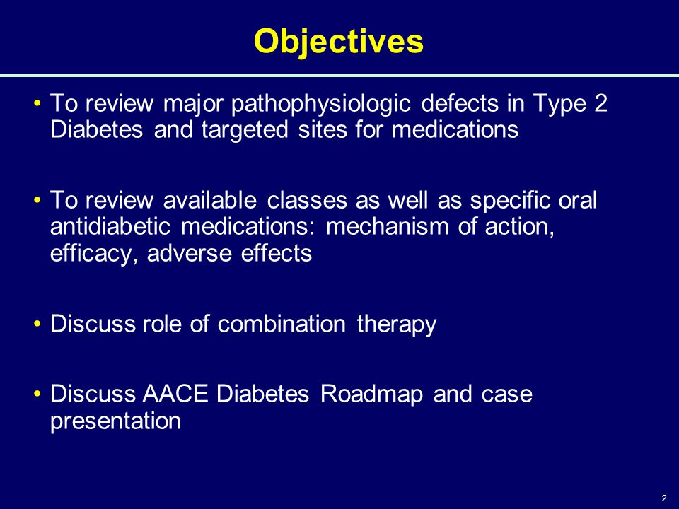 Objectives 4/14/2017 3:46 PM. To review major pathophysiologic defects in Type 2 Diabetes and targeted sites for medications.
