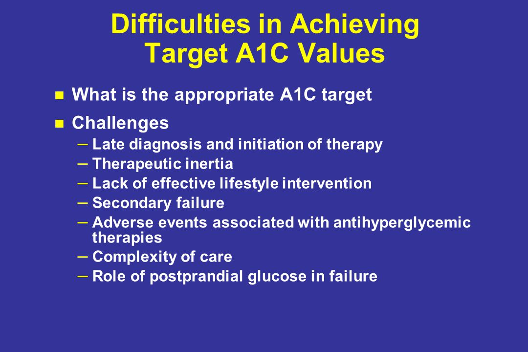 Difficulties in Achieving Target A1C Values