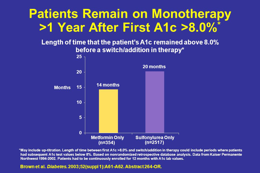 Patients Remain on Monotherapy >1 Year After First A1c >8.0%*
