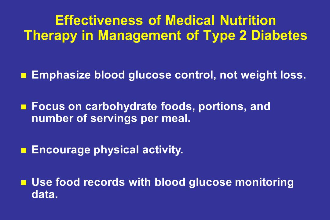 Effectiveness of Medical Nutrition Therapy in Management of Type 2 Diabetes