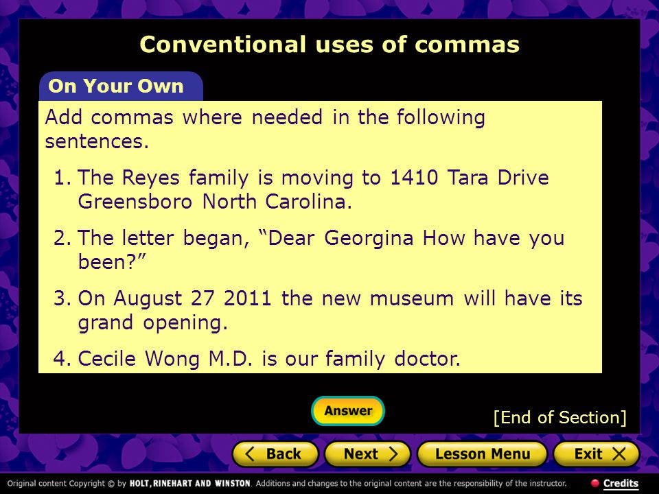 Conventional uses of commas