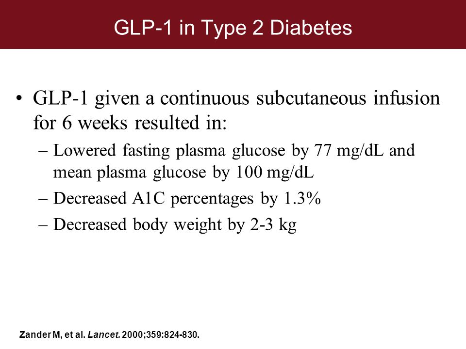 GLP-1 in Type 2 Diabetes GLP-1 given a continuous subcutaneous infusion for 6 weeks resulted in:
