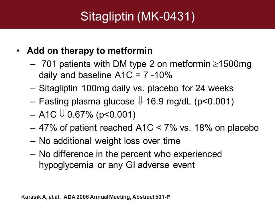 Sitagliptin (MK-0431) Add on therapy to metformin