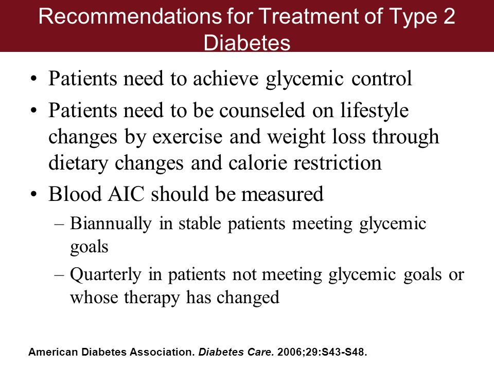 Recommendations for Treatment of Type 2 Diabetes
