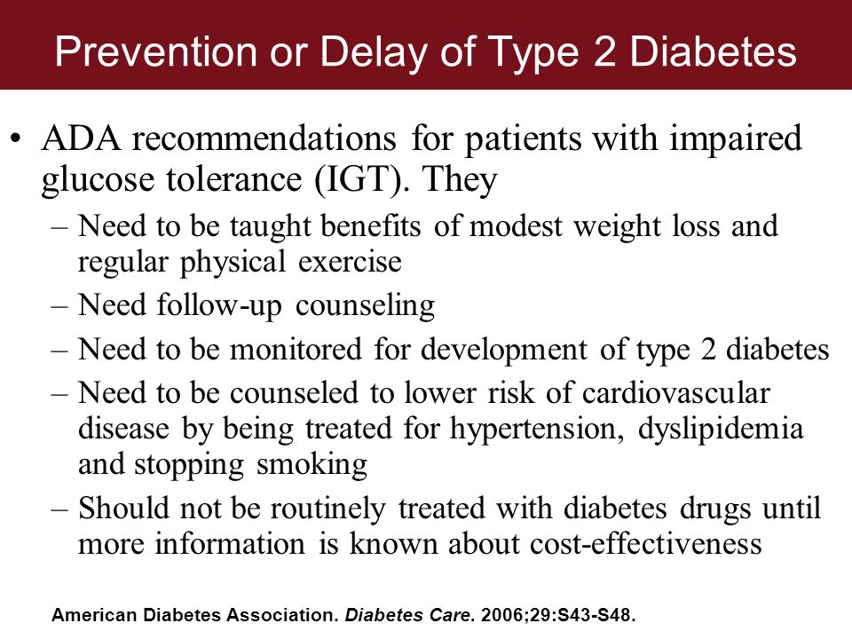 Prevention or Delay of Type 2 Diabetes