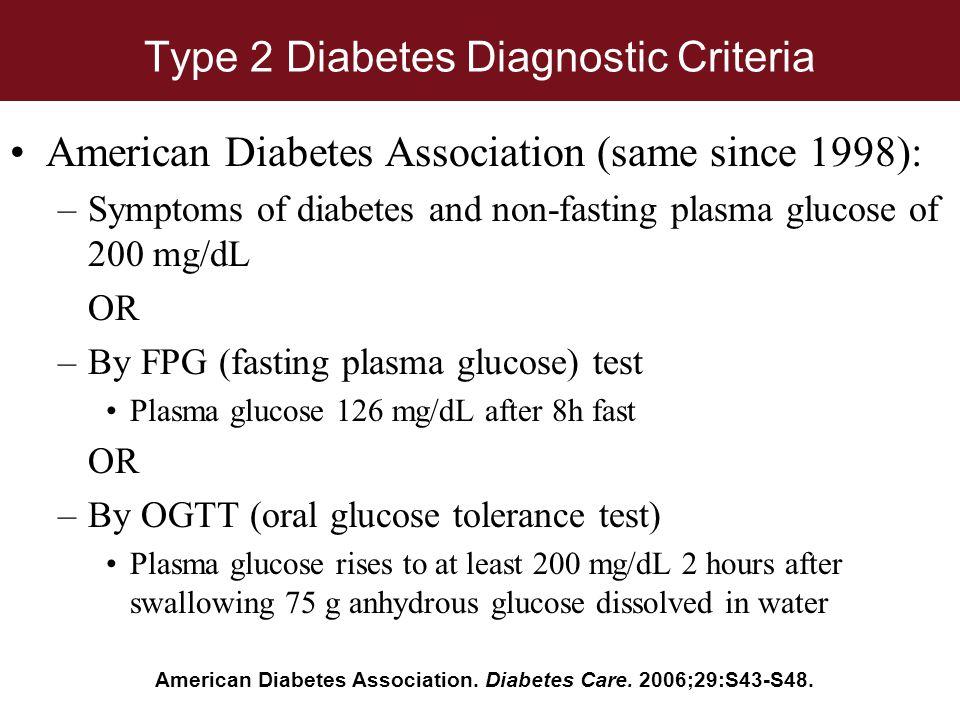 Type 2 Diabetes Diagnostic Criteria