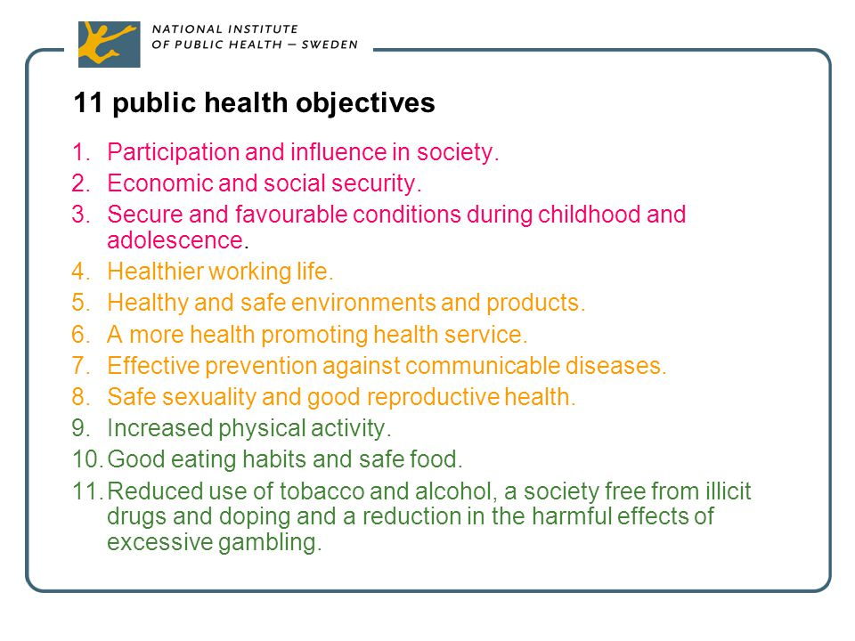 11 public health objectives