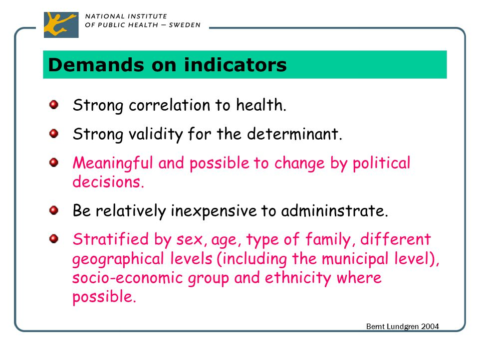 Demands on indicators Strong correlation to health.