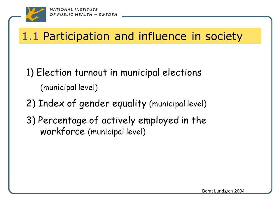1.1 Participation and influence in society