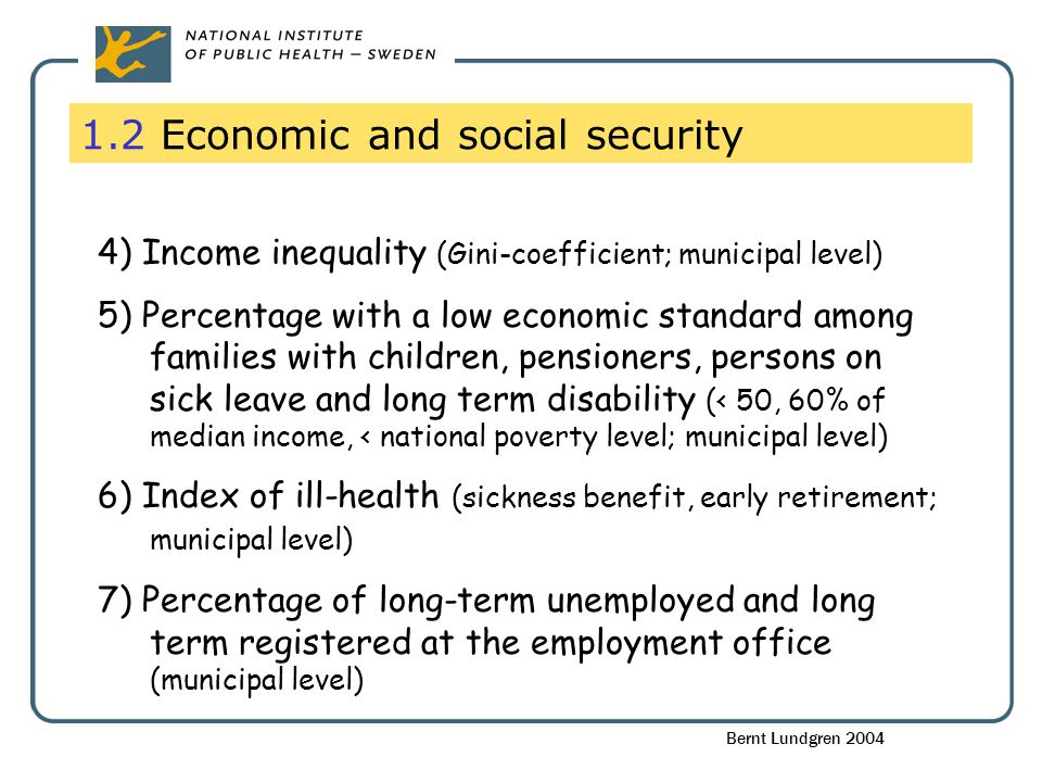 1.2 Economic and social security