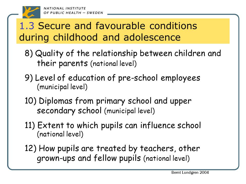 1.3 Secure and favourable conditions during childhood and adolescence