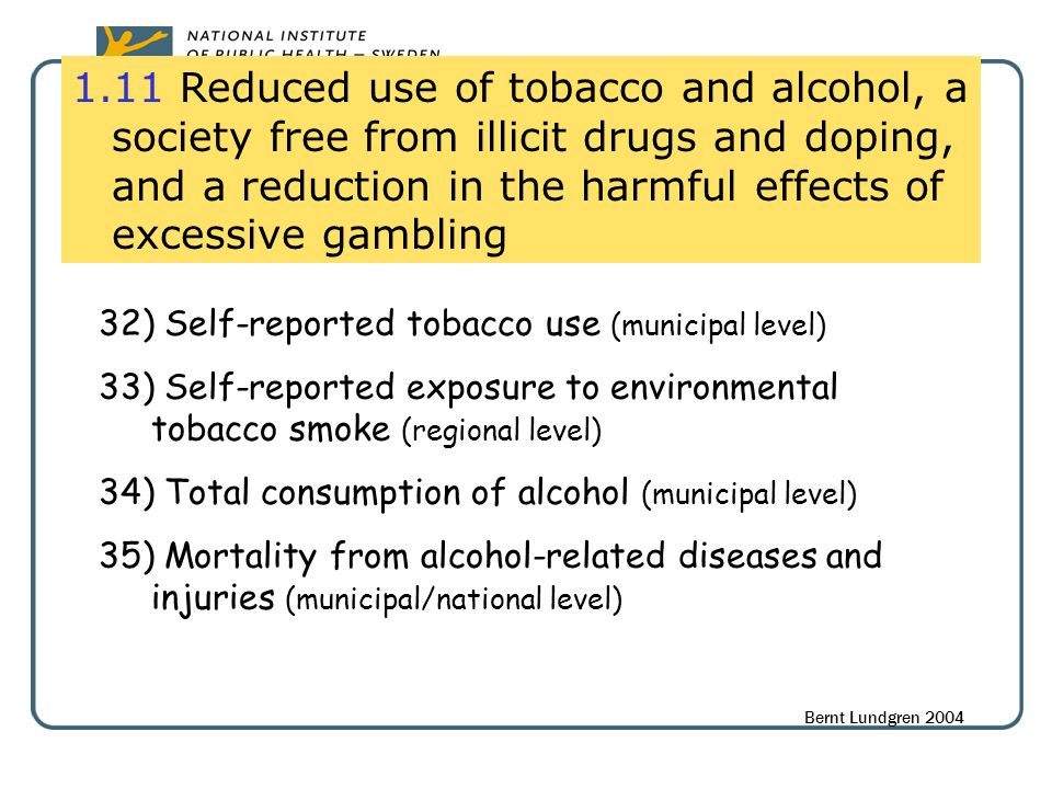 1.11 Reduced use of tobacco and alcohol, a society free from illicit drugs and doping, and a reduction in the harmful effects of excessive gambling