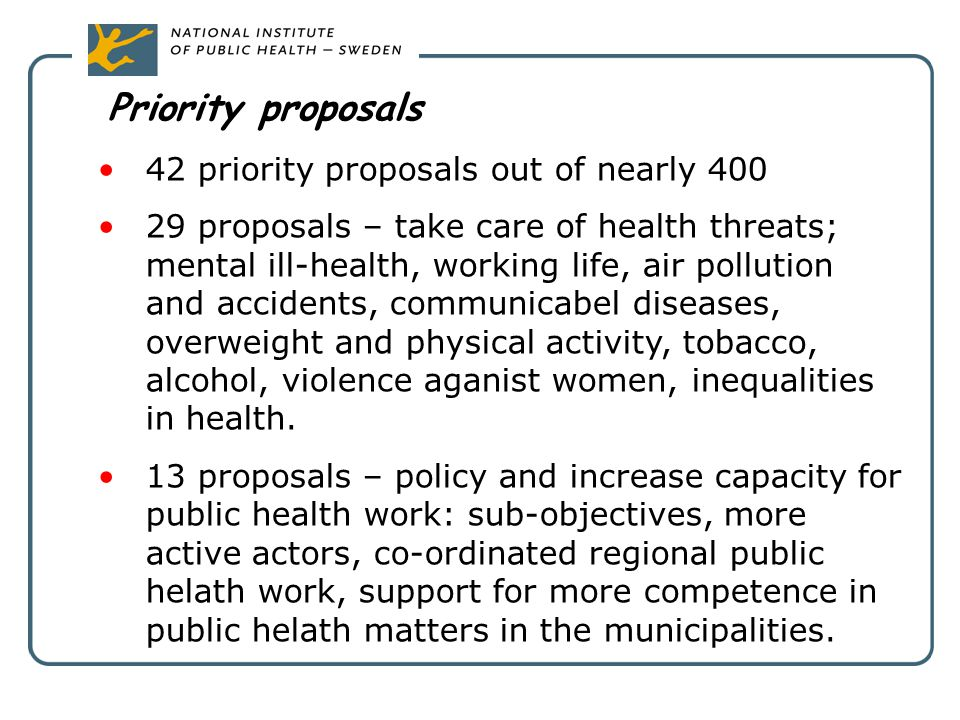 Priority proposals 42 priority proposals out of nearly 400