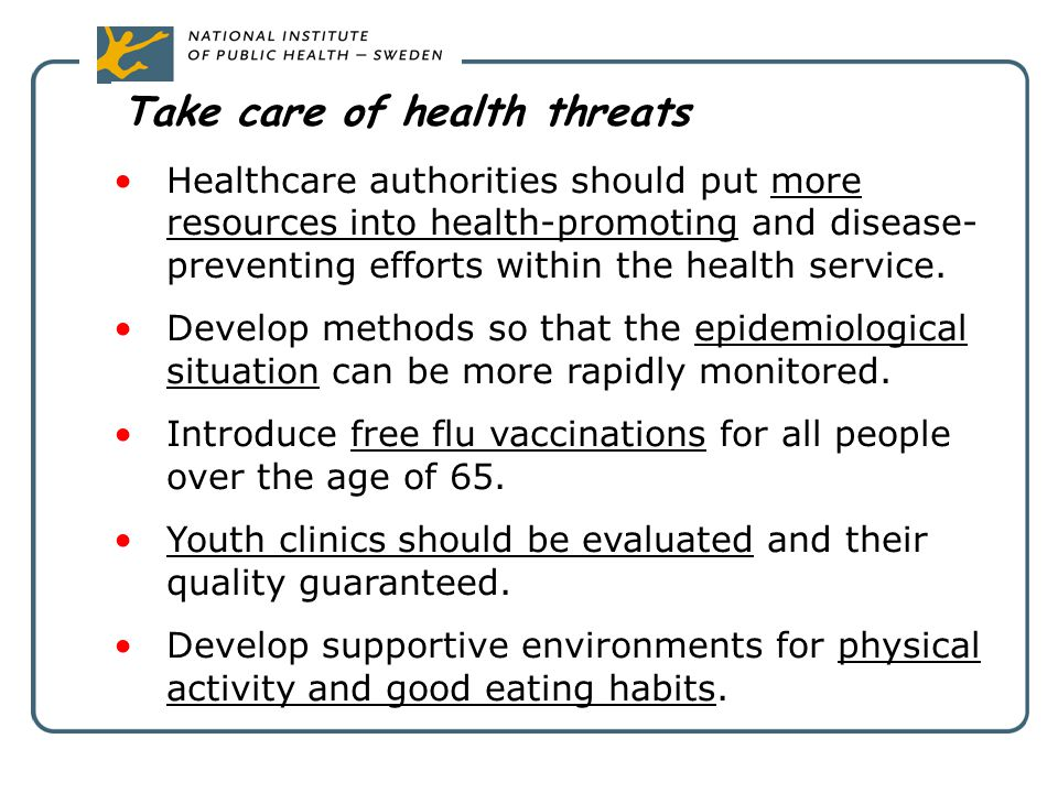 Take care of health threats