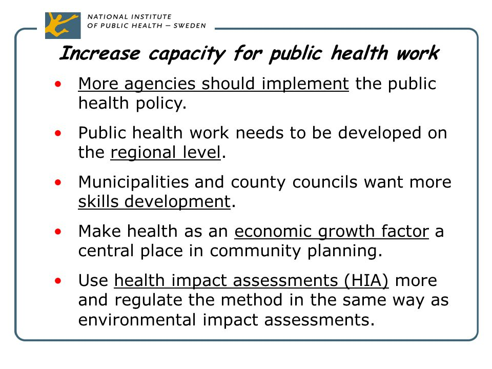 Increase capacity for public health work