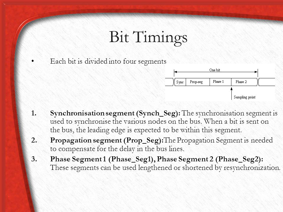 Bit Timings Each bit is divided into four segments