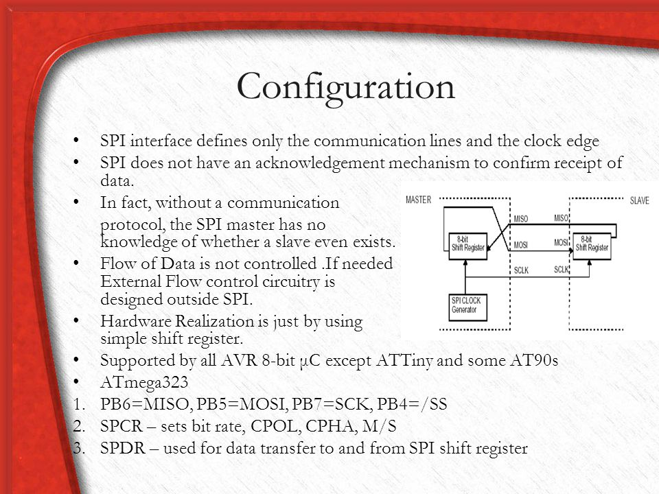 Configuration SPI interface defines only the communication lines and the clock edge.