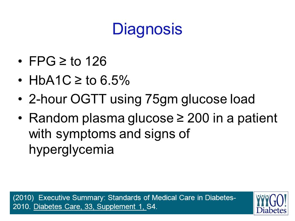 Diagnosis FPG ≥ to 126 HbA1C ≥ to 6.5%