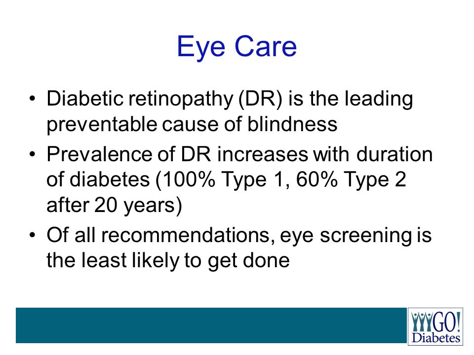 Eye Care Diabetic retinopathy (DR) is the leading preventable cause of blindness.